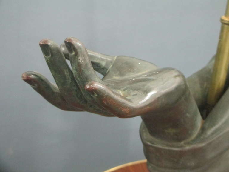 20th Century Sculptural Pair of Bronze Hand Lamps