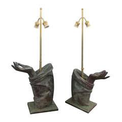 Sculptural Pair of Bronze Hand Lamps