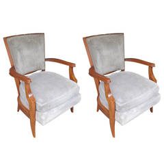 Pair of French 1940s Armchairs in the Andre Arbus Manner