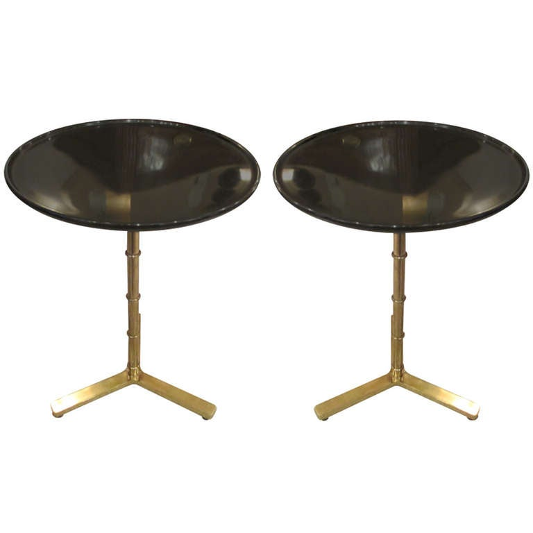 A Pair Of Brass Faux Bamboo Tables With Ebonized Circular Tops 1