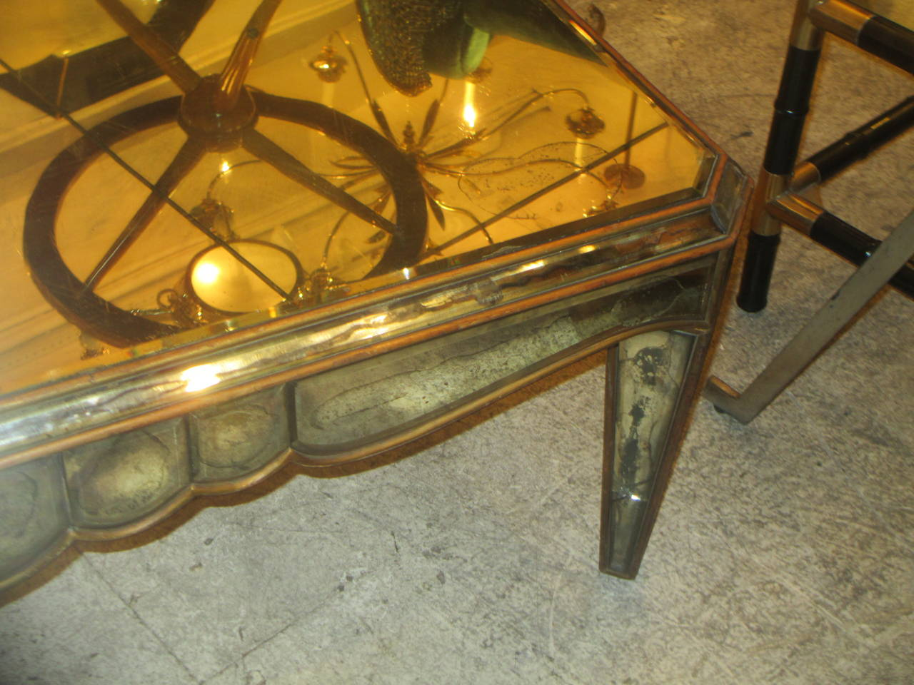 20th Century Mirrored Coffee Table in the Neo-Baroque Manner For Sale