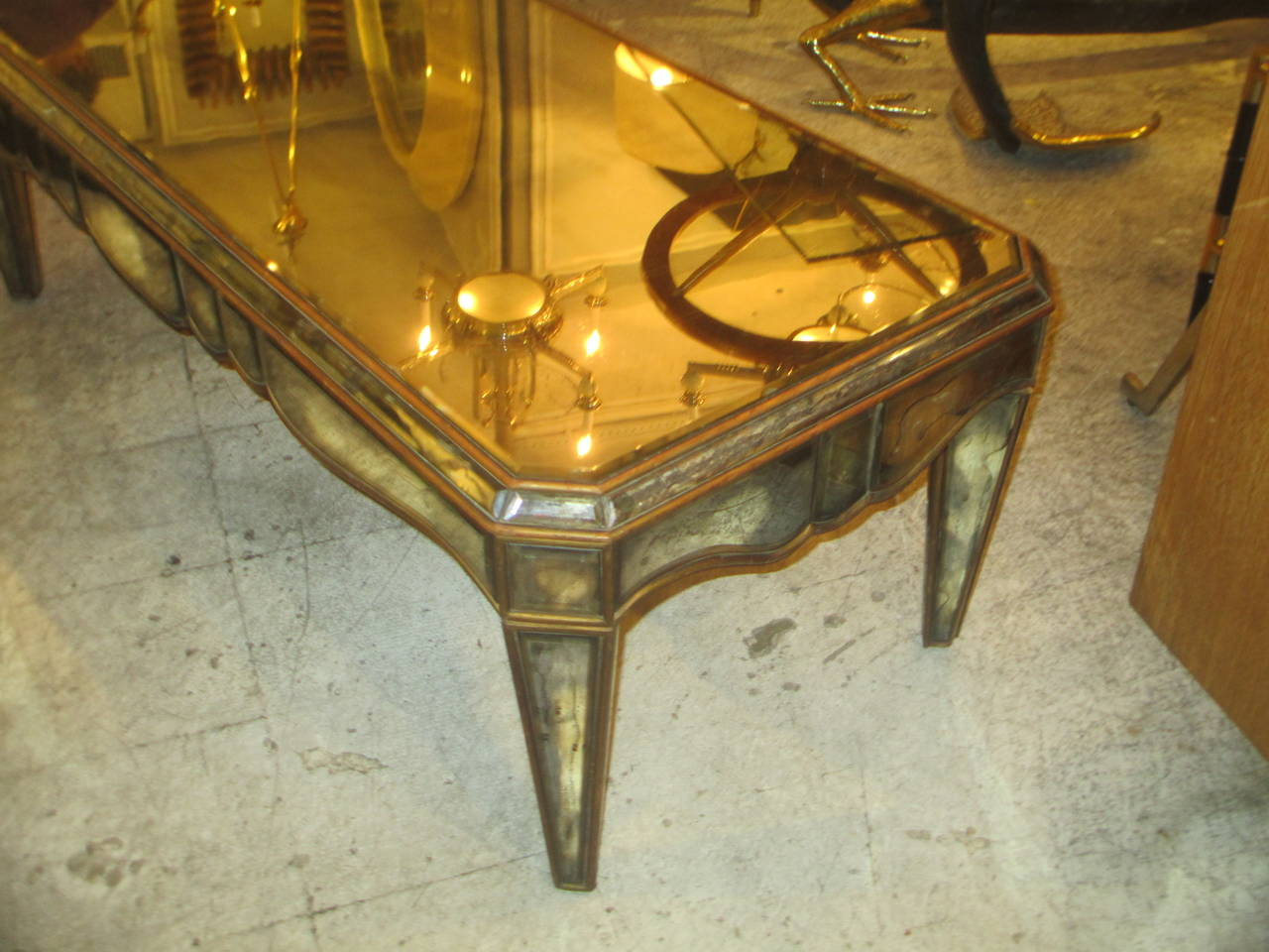 French Mirrored Coffee Table in the Neo-Baroque Manner For Sale