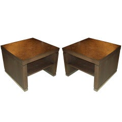 Pair of Cerused Oak Two-Tiered Tables with Mica Tops