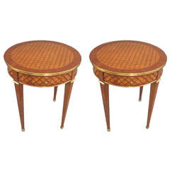 Pair of Parquetry Bouillote Tables on Tapered Legs