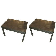 Pair of Cerused Oak Parquetry Tables