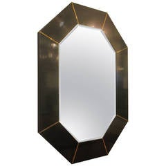 Black Lacquered Octagonal Mirror with Inset Brass