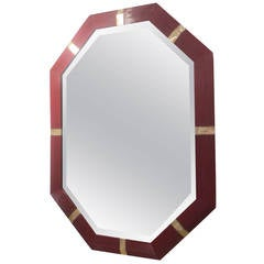 Octagonal Mother-of-Pearl Inlaid Lacquered Mirror