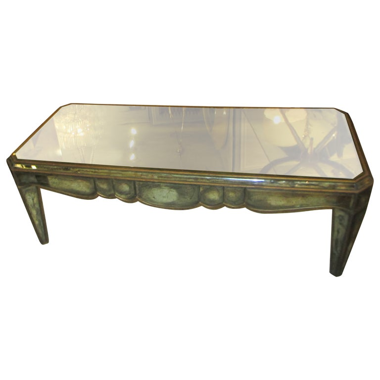 Mirrored Coffee Table in the Neo-Baroque Manner For Sale