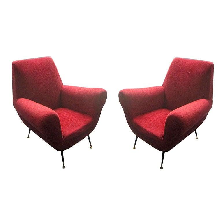 Sculptural Pair Of Mid Century Modern Italian Lounge
