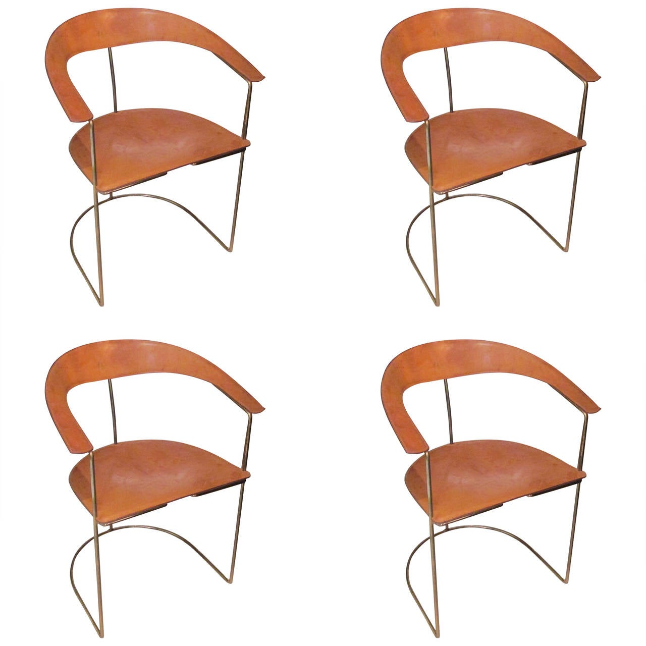 Set Of Four Hand Stitched Leather And Brass Chairs At 1stdibs