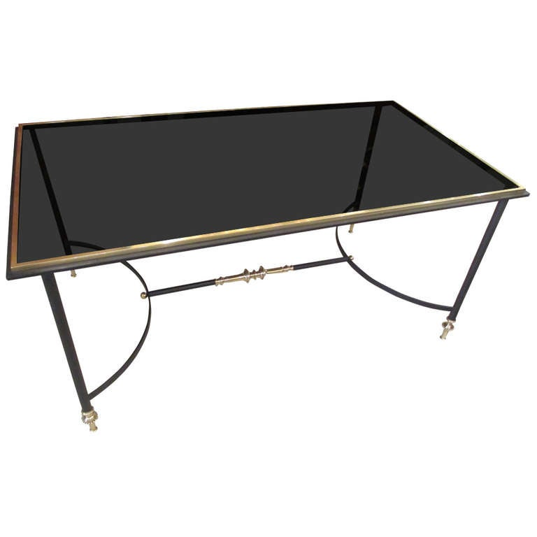French 50 39 s brass and iron coffee table with smoked glass for French glass coffee table