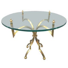 Unusual Glass-Top Table With Brass Base