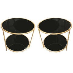 Pair of Gilt Bronze Faux Bamboo Tables with Smoked Glass Tops