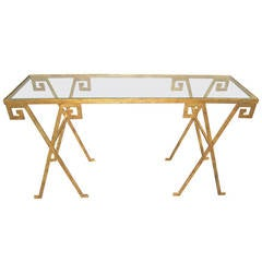 Gilt Glass Top Console with Greek Key Pattern Motif