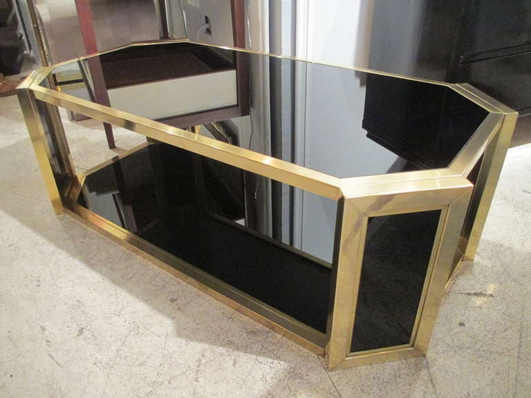 Octagonal brass coffee table with smoked glass for sale at for Octagon glass top coffee table
