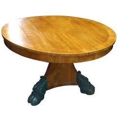 Biedermeier Style Center Table on Central Base Ending in Hoof Feet