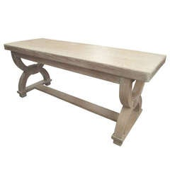 French 1940s Cerused Oak Curule Bench