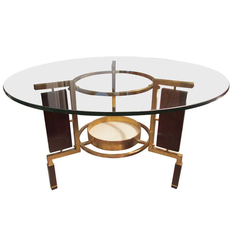 Unusual and sculptural glass top rosewood and brass coffee for Coffee tables quirky