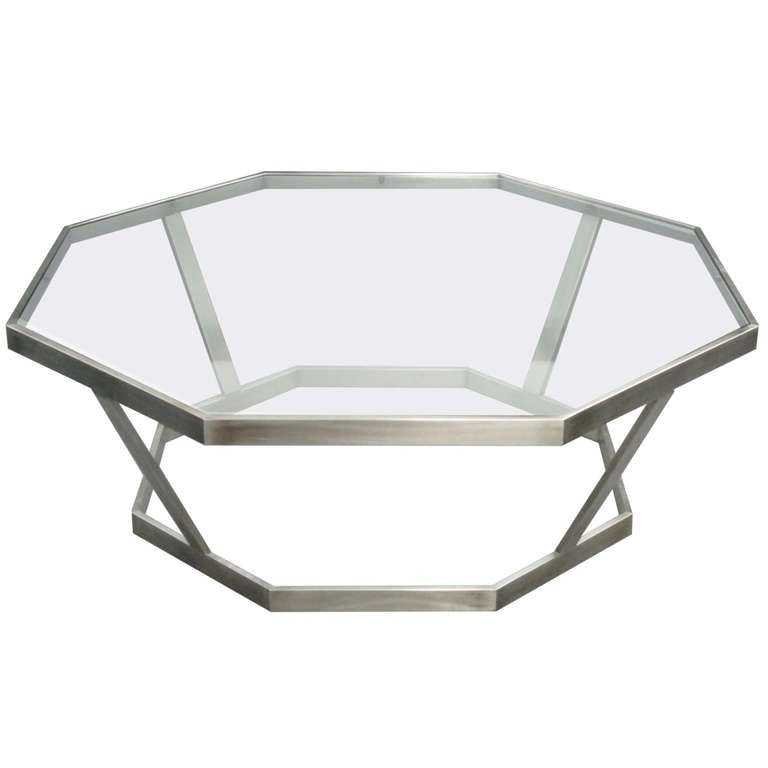 Octagonal chrome glass top coffee table at 1stdibs for Octagon glass top coffee table
