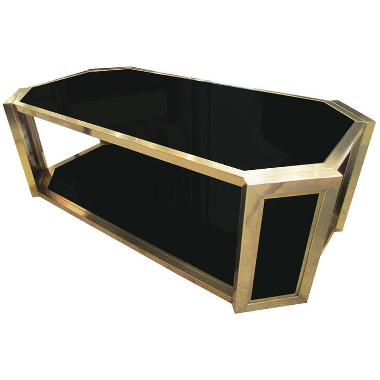 Octagonal Brass Coffee Table With Smoked Glass For Sale At