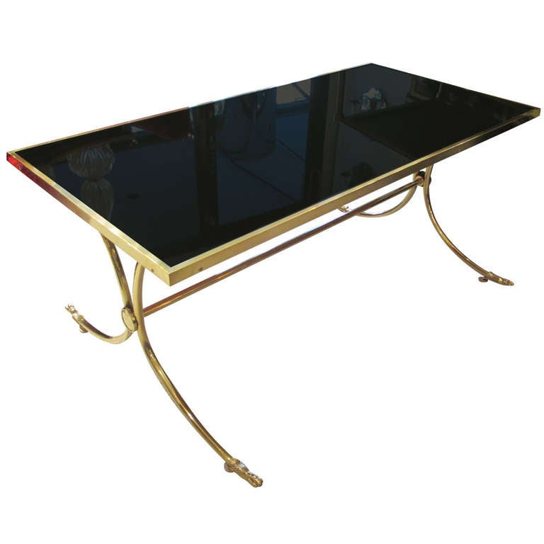 Exceptional Brass And Bronze Coffee Table With Smoked Glass Top For Sale At 1stdibs