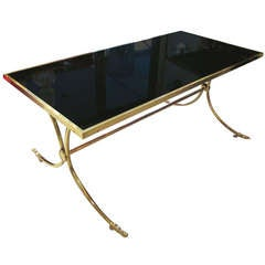 Exceptional Brass and Bronze Coffee Table with Smoked Glass Top