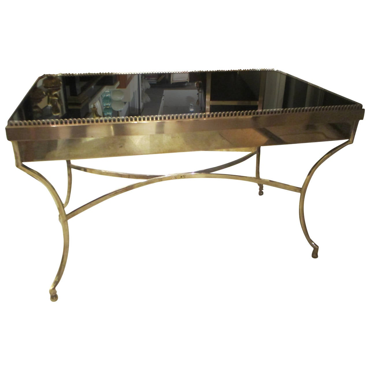 Brass Coffee Table with Smoked Glass and Galleried Top