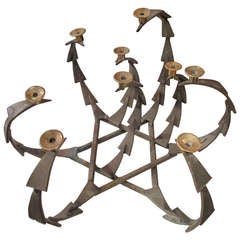 Unusual  Scandinavian Nine Arms  Iron and Brass Candelabra