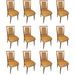 Set of 12 Italian Mid-Century Modern Dining Chairs with Bronze Details