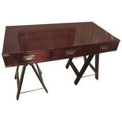 Campaign Desk with Brass Trimmed Corners on Folding Sawhorse Base