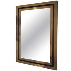 Modern Brass Mirror Inlaid with Black Glass
