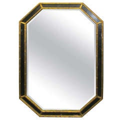 Octagonal Faux-Bamboo Mirror with Etched Glass