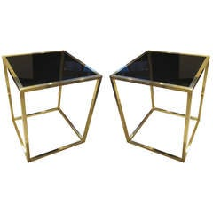 Pair of Sculptural Brass Tables with Smoked Glass Top