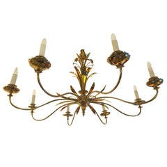 Exquisite Oversized Nickel-Plated and Brass Chandelier