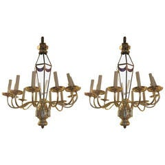 Pair of Twelve-Arm Nickel-Plated Chandeliers with Cobalt Blue Glass