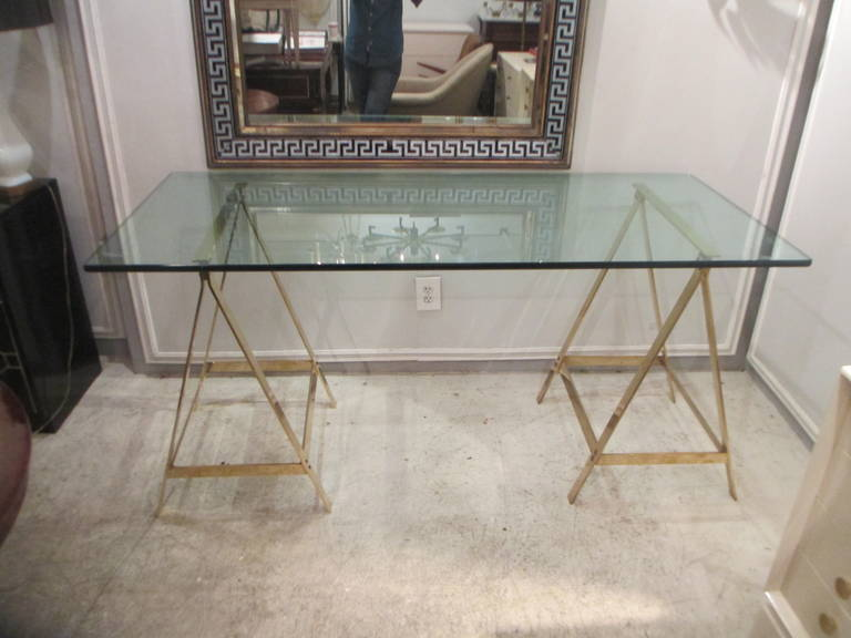 Charmant French Fine Bronze Glass Top Saw Horse Desk Or Console For Sale
