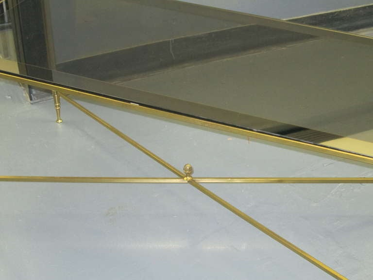 French Rectangular Brass Coffee Table with Smoked Glass For Sale