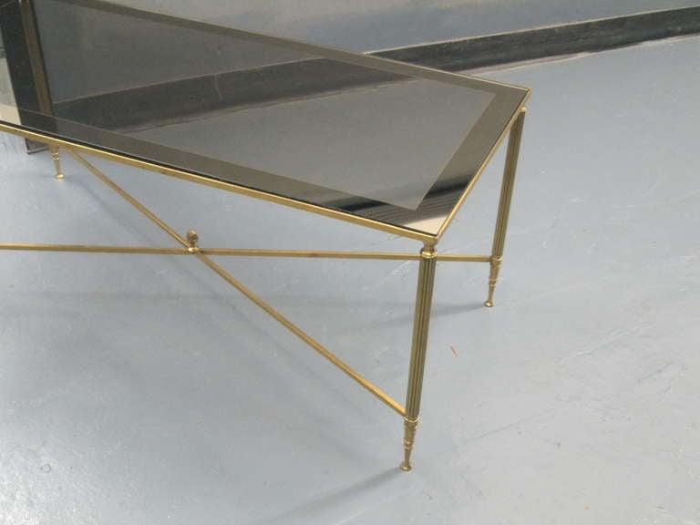 Louis XVI Rectangular Brass Coffee Table with Smoked Glass For Sale