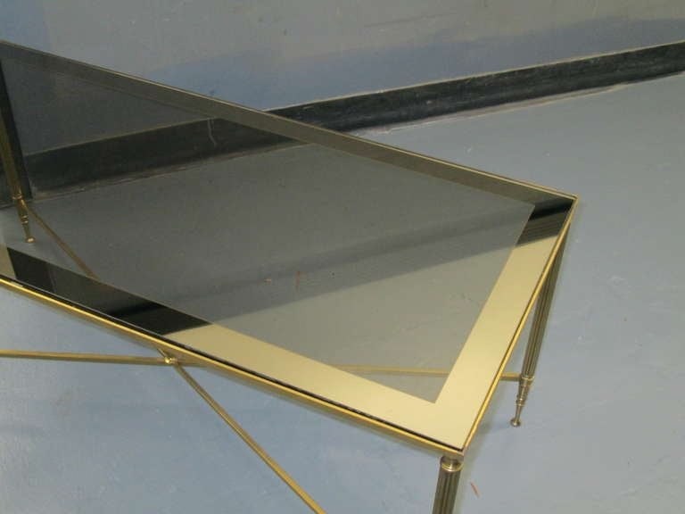 Rectangular Brass Coffee Table with Smoked Glass In Good Condition For Sale In New York, NY