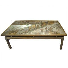 """Laverne Acid Etched and Patinated  Bronze """"Chan"""" Coffee Table"""