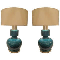 A Pair of Blue Crackle-Glazed Lamps