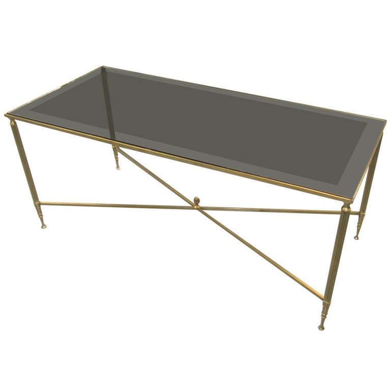 Rectangular Brass Coffee Table With Smoked Glass At 1stdibs