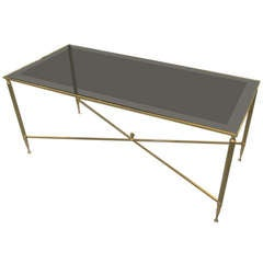Rectangular Brass Coffee Table with Smoked Glass