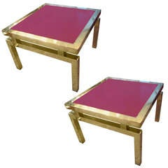 Pair of Mid-Century Modern Brass Tables with Red Glass Tops