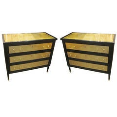 Pair of Ebonized and Gold Leafed Directoire Style Commodes