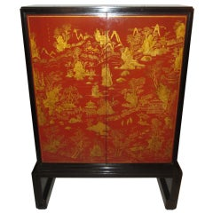 Exquisite Lacquered Chinoiserie Cabinet by Nordiska