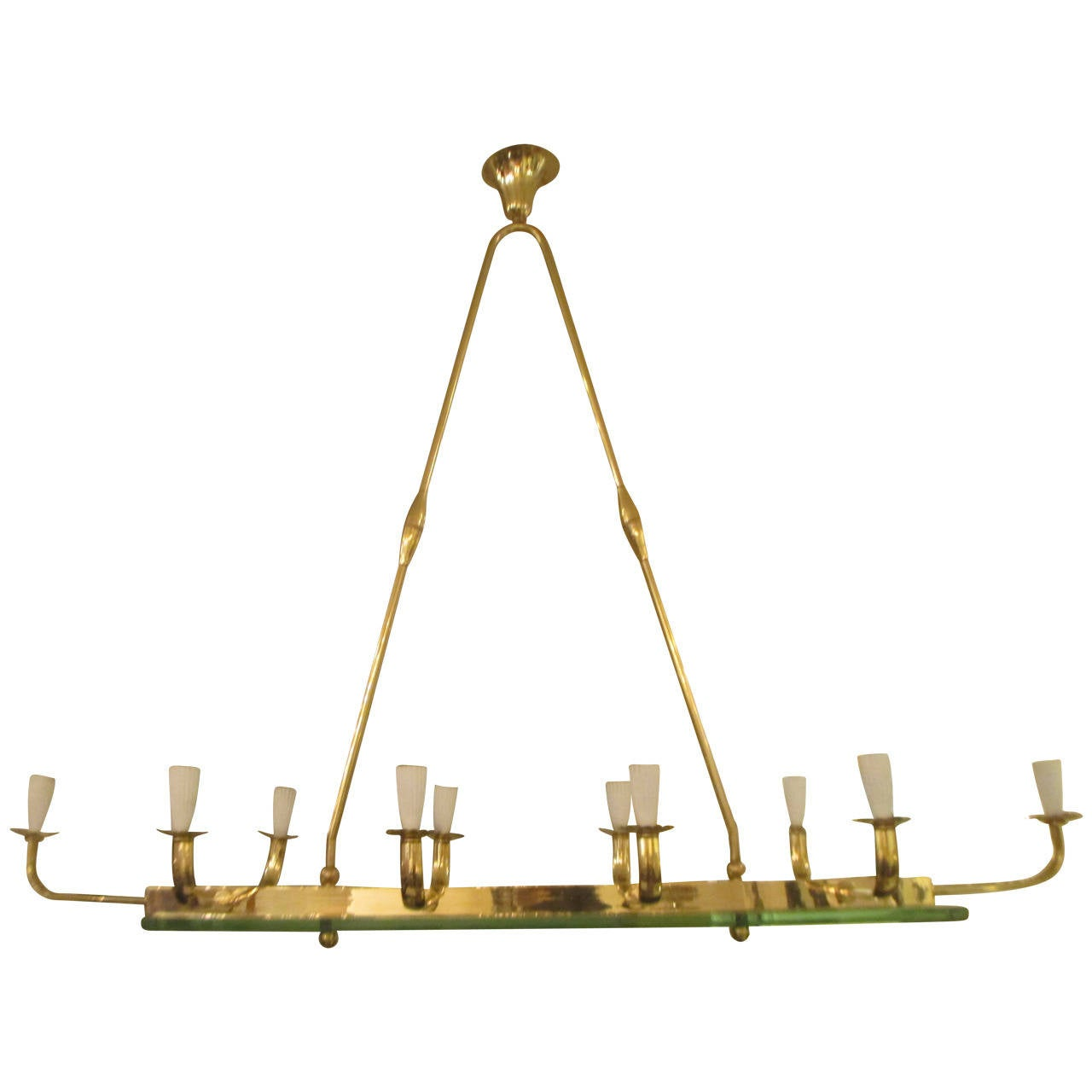 Exquisite Lighting Exquisite MidCentury Modern TenLight Brass And Glass Chandelier 1 Lighting