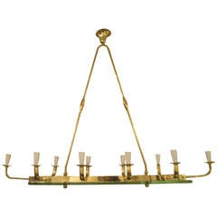 Exquisite Mid-Century Modern Ten-Light Brass and Glass Chandelier