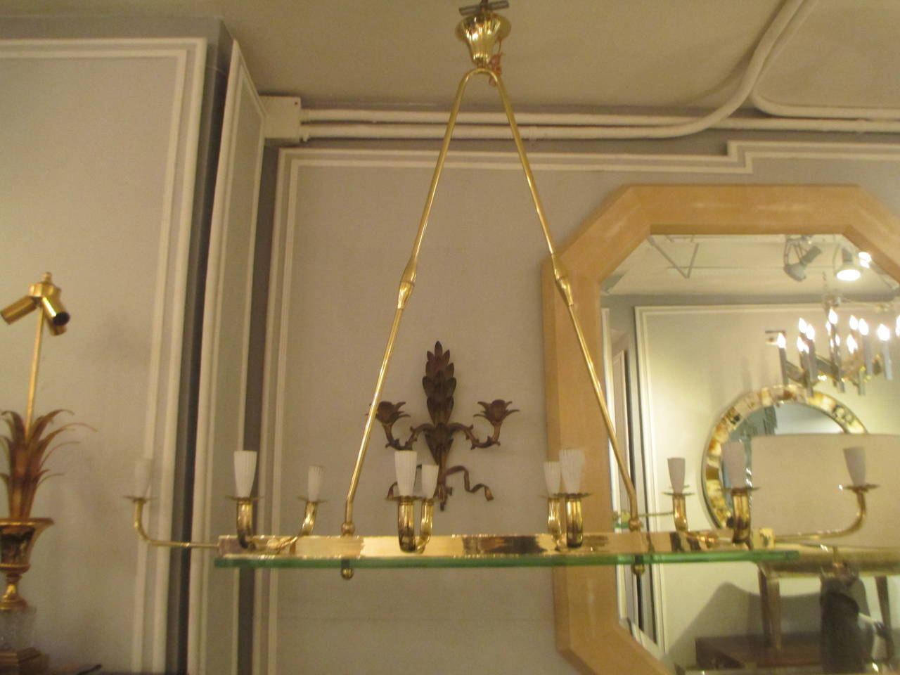 Exquisite mid century modern ten light brass and glass chandelier exquisite mid century modern ten light brass and glass chandelier mozeypictures Gallery