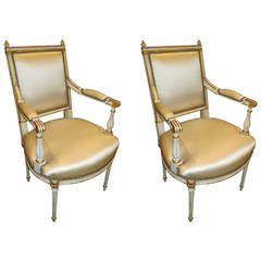 Pair of Louis XVI Style Armchairs Attributed to Maison Jansen